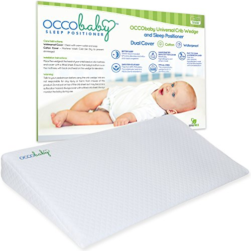OCCObaby Universal Crib Wedge and Sleep Positioner for Baby Mattress | Waterproof Layer & Handcrafted Cotton Removable Cover | 12-degree Incline for Better Night's (Clean Air Odor Free Diaper)