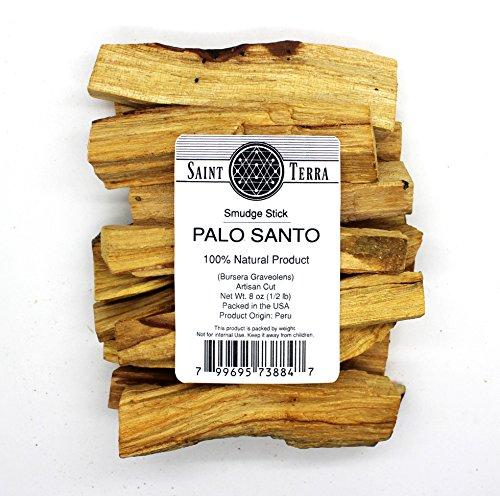 Botanical Incense Sticks - Saint Terra Premium Palo Santo (Holy Wood) 8 oz Pack Artisan Cut Smudge Stick - 100% Natural