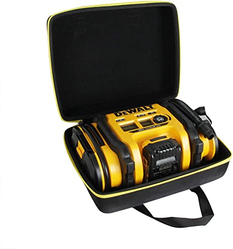 Hermitshell Hard Travel Case for DEWALT DCC020IB 20V Max Inflator with Battery Black Yellow Zipper