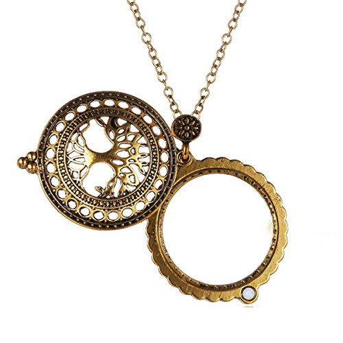 - Sherry Magnifiers 5X Antique Hanging Magnifier Hollow Out Necklace Pendant Map Reading Magnifying Glass (Gold 02)