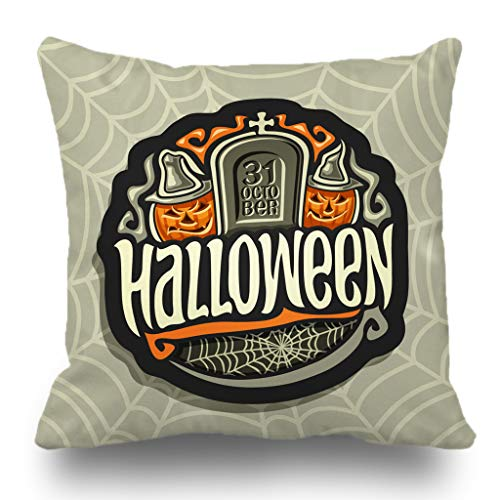 Batmerry Halloween Pillow Covers 18x18 inch, Halloween Holiday Gray Tombstone Smiling Characters Orange Pumpkins Throw Pillows Covers Sofa Cushion Cover Pillowcase]()