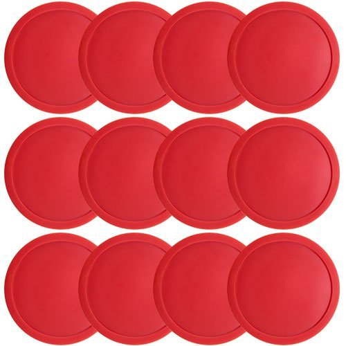 Easygame One Dozen Air Hockey Pucks 3 1/4 inch, Large Size Red Puck for Full Size Air Hockey for Teenager Adults Tables