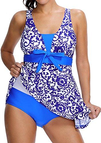 Bettydom Traje floral de una pieza para mujer Spa balneario dos colores opcionales Azul Zafiro