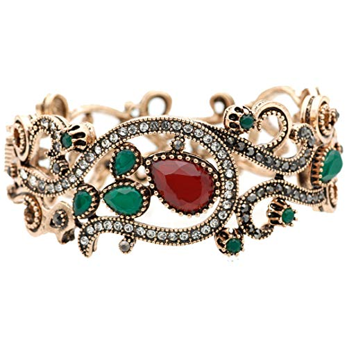 Mblets Resin Retro Bangle Cuff Bracelet for Women Boho Wedding Jewelry Spring Opening 1569red 54-56mm