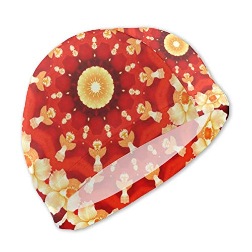 Sprutea Abstract Art Background Orchid Kaleidoscope Customized Fun Printing Design Kids Swim Cap Swim Hat Durable for Boys and Girls Fit 3-12 Years Old