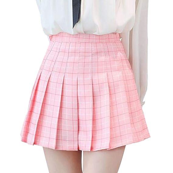 hibote Falda Tenis Mujer Cintura Alta Medio Falda Corta ...