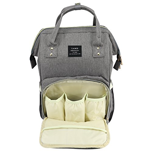 Land Baby Diaper Bag Large Capacity Mommy Backpack Baby Nappy Tote Bags Multi-Function Travelling Backpack for Mom Travellers Nurses Students (Dark Grey)