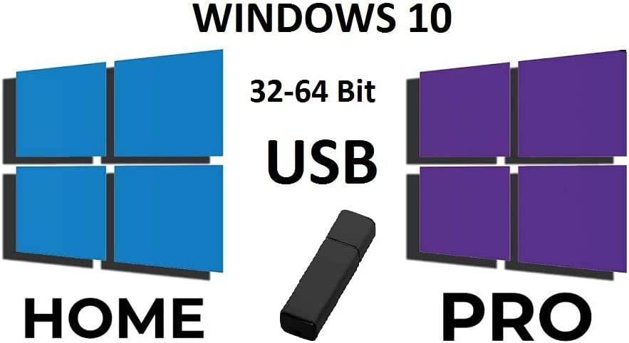 USB Windows 10 Home&Professional 32&64 Bit, Recovery Repair Reinstall Clean Reboot Restore Fix Update Bootable for Desktop&Laptop.compatible with microsoft