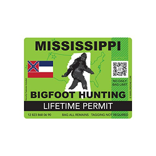 Mississippi Bigfoot Hunting Permit Sticker Die Cut Decal Sasquatch Lifetime FA Vinyl