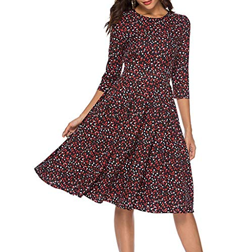 Women's Love Floral Fashion Casual Mini Skirt Women's Floral Cropped Sleeve Vintage Dress Evening Dress Red by Lloopyting (Image #4)