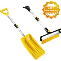 $29 » ISILER Extendable Four in One Snow Removal Kit with Snow Shovel, Ice Scraper, Snow Brush and…