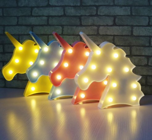 Cute Unicorn Head Led Night Light Animal Marquee Lamps On Wall For Children Party Bedroom Decor Kids Gifts S027 1 Pcs Random Color