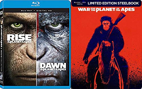 (Deadly Apes Steelbook War for the Planet Exclusive Feature Sci-Fi + Dawn & Rise of the Planet of the Apes Blu Ray Movie 3 Pack Limited Edition Trilogy Set)