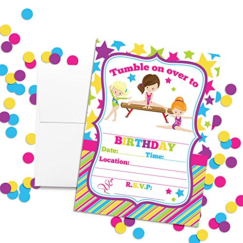 Gymnastics Birthday Party Invitations for Girls, Ten 5''x7'' Fill In Cards with 10 White Envelopes by AmandaCreation by Amanda Creation (Image #1)