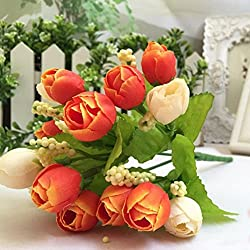 Besde 15Pcs Artificial Rose Silk Scented Flowers Valentine's Day Gift (Orange)