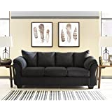 Flash Furniture Signature Design by Ashley Darcy Sofa in Black Microfiber