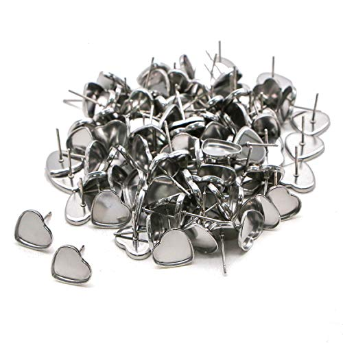 - JETEHO 100 Pieces Heart Earring Studs Blank Base Findings Tray Bezel Set for DIY Jewerry Making - Silver,12mm