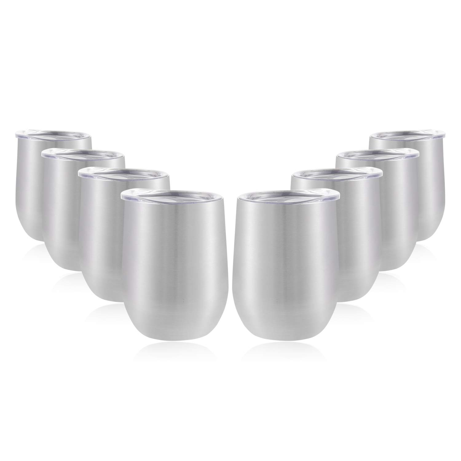 DOMICARE Insulated Wine Tumbler Glasses with Lid (8 Pack, Stainless Steel) - 12 OZ Stemless Double Wall Vacuum Traval Mug Cup - Keeping Cold & Hot for Wine, Coffee, Cocktails, Drinks
