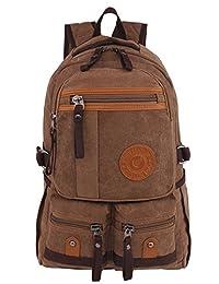 Leaper Vintage Canvas Rucksack College Backpack School Bag Hiking Daypack Coffee