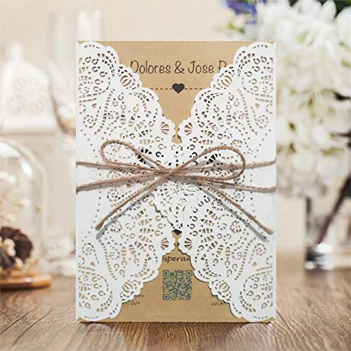 50 Set Stripe Design Cheap Laser Cut Wedding Invitations Print Birthday Party Cards with Envelope and Seal Ribbons
