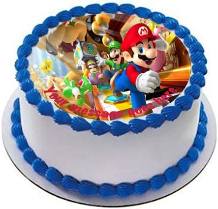 "SUPER MARIO PERSONALISED CAKE EDIBLE ROUND 8/"" PRINTED TOPPER #1"