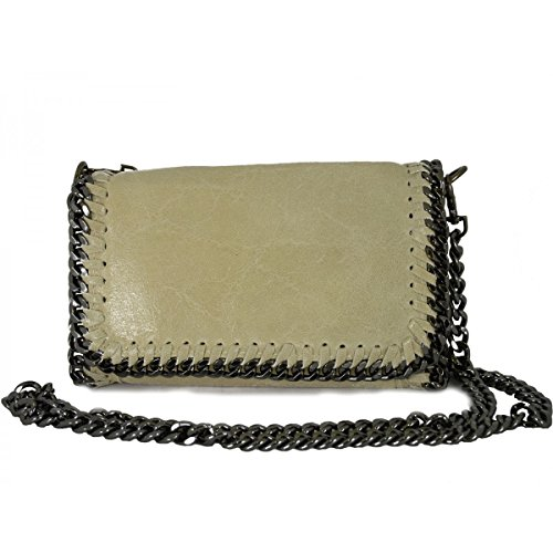 Shoulder Bag In Genuine Leather For Women Beige - Artificial Fur Throws In Italy - Bag Woman