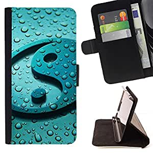 For Samsung Galaxy S5 Mini, SM-G800 Yang Water Drop Reflection Fresh Zen Beautiful Print Wallet Leather Case Cover With Credit Card Slots And Stand Function