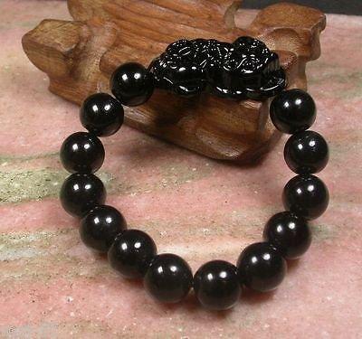 - Natural Black Chinese Jade Bead Dragon Pi Xiu Bangle Feng Shui Bracelet