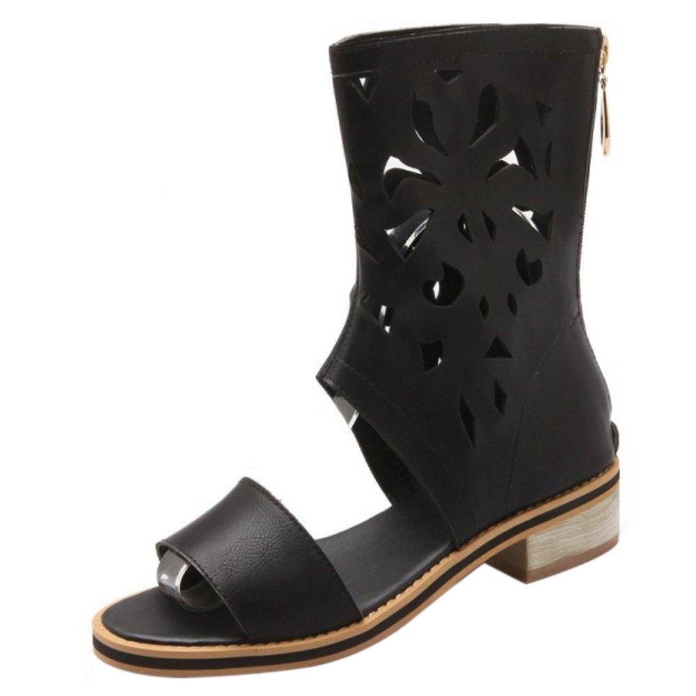 COOLCEPT Femmes Mode Ankle Wrap Fermeture Sandales Orteil ouvert eclair B0778HKN82 Talon bas Chaussures With Fermeture eclair Noir 1fc111a - deadsea.space
