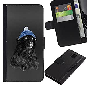 Planetar® Colorful Pattern Flip Wallet Leather Holster Protective Skin Case Cover For SAMSUNG Galaxy Note 3 III / N9000 / N9005 ( Hipster Bear )