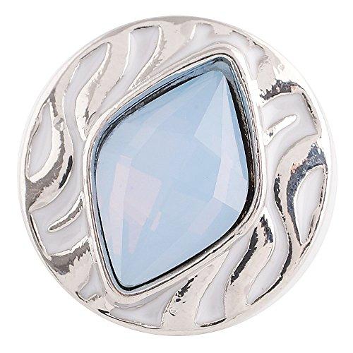 Chunk Snap Charm LIght Blue Topaz Stone White Enamel 20mm 3/4