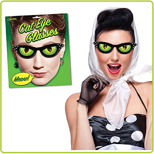Green Cat Eye Dress Up Novelty - Glasses Eye Green Cat