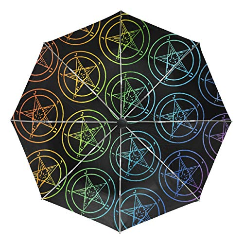 Baphomet Satanic Goat Gay Rainbow Sun&Rain Automatic Umbrella Windproof Travel UV
