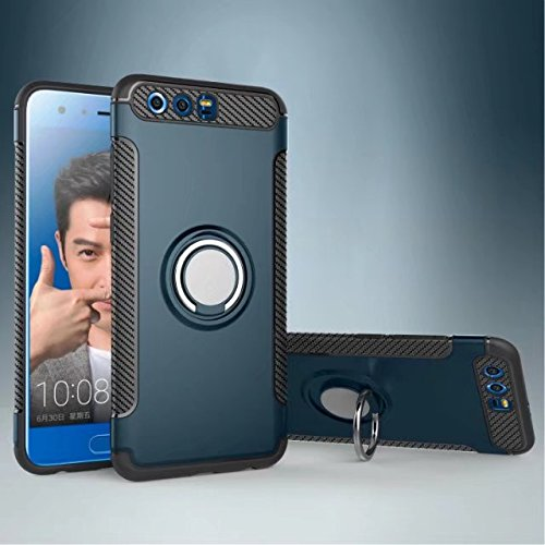 Price comparison product image Yhuisen Armor Dual Layer 2 in 1 Heavy Duty Shockproof Protection Case with 360 Degree Rotating Finger Ring Holder and Magnet Car Holder Case for Huawei Honor 9 ( Color : Navy )