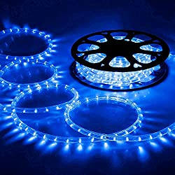 DELight 150 FT Blue LED Rope Light Indoor Outdoor Home Holiday Valentines Party Disco Restaurant Cafe Decoration