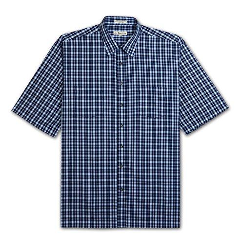 Foxfire Big and Tall Easy Care 2 Pocket Plaid Shirt (Navy 5X)