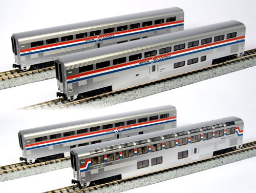 Kato USA Model Train Products Amtrak Superliner Phase III Car Set B, 4-Piece