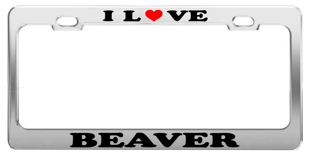 Black Metal License Plate Frame Tag Holder Got Beaver