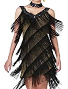 KAYAMIYA Women's Beaded Deep V 1920s Gatsby Fringe Flapper Dress