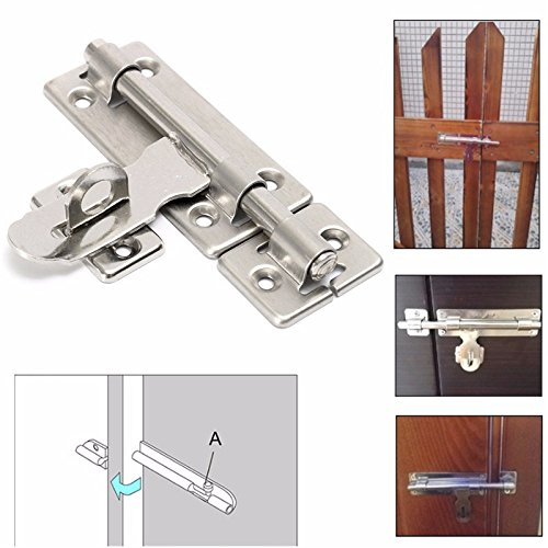 4 Inch Stainless Steel Hardware Door Lock Barrel Bolt Latch Padlock Clasp Set Brushed Stainless ()