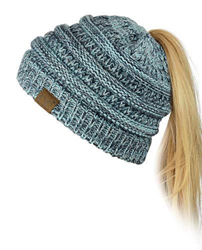 C.C BeanieTail Soft Stretch Cable Knit Messy High Bun Ponytail Beanie Hat, Mint Mix