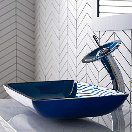 (Kraus C-GVR-204-RE-10CH Irruption Blue Rectangular Glass Vessel Sink and Waterfall Faucet Chrome)