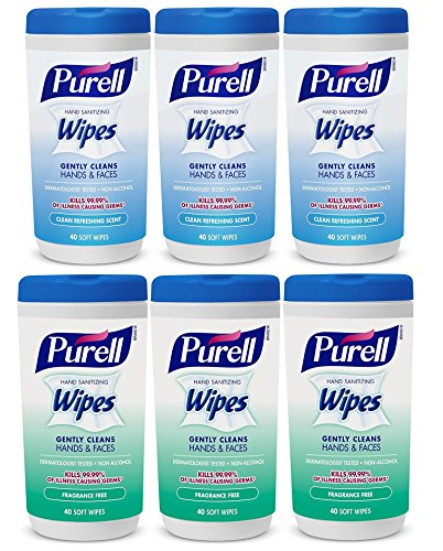 Hand and Face Sanitizing Wipes -3 Refreshing Scent And 3 Fragrance Free Canisters of 40 Count by Purell (Image #8)