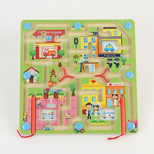 Wooden City Traffic Magnetic Maze Puzzle Interactive maze Magnet Beads Maze on Board Game City Traffic Eduactional Handcraft Toys-Square + flying Flight chess Modern Ludo on the other side (Flying Magnet)
