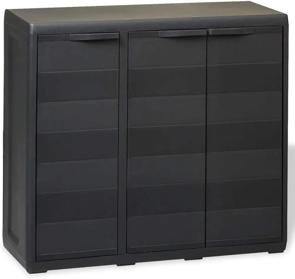 Armario Bajo de jardín, Armario de Exterior con 3 puertas y 2 Estantes ajustable, Armario de almacenamiento de Plástico 97 x 38 x 87 cm, Negro