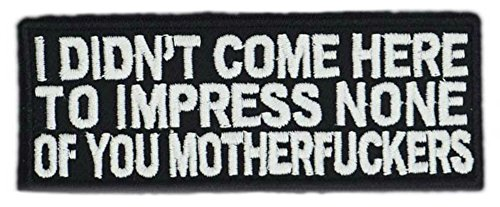 (I DIDN'T COME HERE TO IMPRESS NONE OF YOU MOTHERFCKERS Patch Funny Saying Text Words Logo Humor Theme Series Embroidered Sew/Iron on Badge DIY)