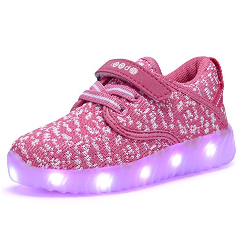 COODO CDR2010 Toddler LED Shoes USB Charging Little Girl's Light up Sneakers FUSCHIA/WHITE-9 (Halloween 9 Film Complet)