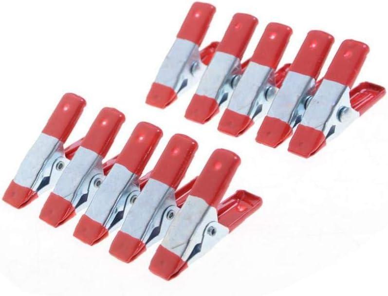 2-Zoll-rote Kunststoff-Tipps Tool Clips-Griff-Halter Mini Metall Heavy Duty Federschellen Krokodilklemme Bongles 10pcs