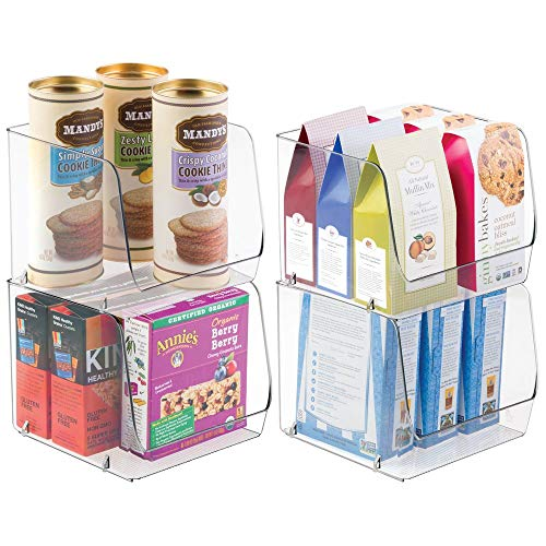 mDesign Extra Large Household Stackable Plastic Food Storage Organizer Bin Basket with Wide Open Front for Kitchen Cabinets, Pantry, Offices, Closets, Bedrooms, Bathrooms - 8.5 Wide, 4 Pack - Clear