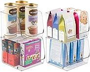 mDesign Stackable Plastic Food Storage Bin, Open Front